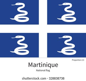 National flag of Martinique with correct proportions, element, colors for education books and official documentation