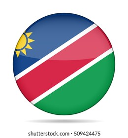 National flag of Namibia. Shiny round button with shadow.