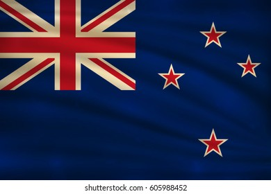 The national flag of New Zealand on wavy silk background with bokeh lights. Realistic vector illustration.