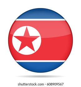 National flag of North Korea. Shiny round button with shadow.