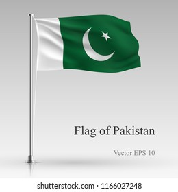 National flag of Pakistan isolated on gray background. Realistic flag waving in the Wind. Wavy flag of Pakistan Vector illustration