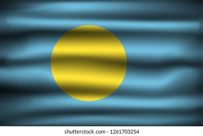 National Flag of Palau PW. Front view, official colors and correct proportion. Realistic vector illustration.