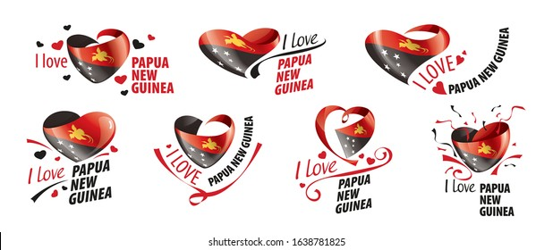 National flag of the Papua New Guinea in the shape of a heart and the inscription I love Papua New Guinea. Vector illustration
