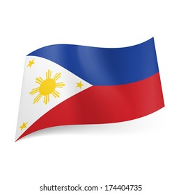 National flag of Philippines: blue and red horizontal stripes, white triangle with golden sun and stars on left side
