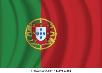 The national flag of Portugese. The symbol of the state on wavy cotton fabric. Realistic vector illustration. Portugese flag background with cloth texture. EPS10
