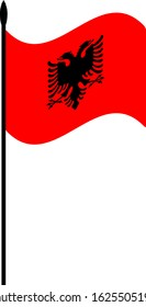 National flag of the Republic of Albania with a black double-headed eagle in the center.The flag flutters in the wind. The red color of the flag. Vector illustration.