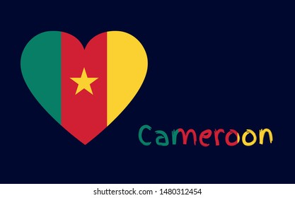 National flag of the Republic of Cameroon in the shape of a heart with tricolor text on the blue background, vector icon