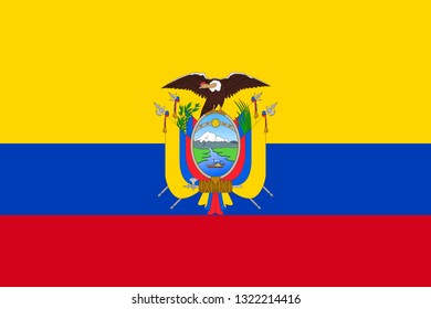 National flag of republic Ecuador with emblem. Ecuadorian patriotic symbol with official colors. South America country identity object. Ecuador flag vector illustration for web or mobile app.