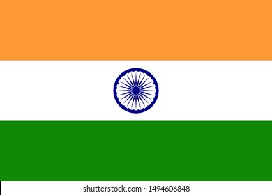 national flag of Republic of India in the original colours and proportions