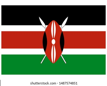 National flag of Republic of Kenya. original colors and proportion. Simply vector illustration eps10, from countries flag set.