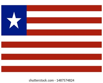 National flag of Republic of Liberia. original colors and proportion. Simply vector illustration eps10, from countries flag set.