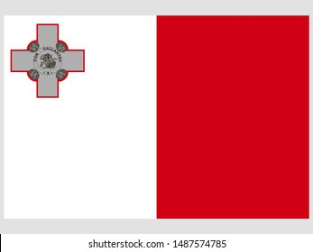 National flag of Republic of Malta. original colors and proportion. Simply vector illustration, from countries flag set.