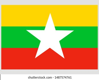 National flag of Republic of the Union of Myanmar. original colors and proportion. Simply vector illustration eps10, from countries flag set.