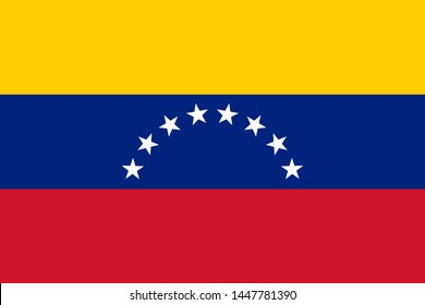 national flag of Republic of Venezuela in the original colours and proportions