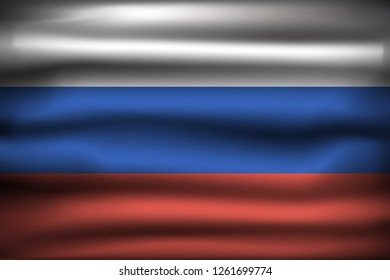 National Flag of Russian Federation RU. Front view, official colors and correct proportion. Realistic vector illustration.