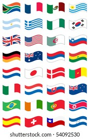 national flag set in white background, vector