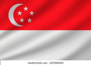 national flag of Singapore on wavy cotton fabric. Realistic vector illustration.