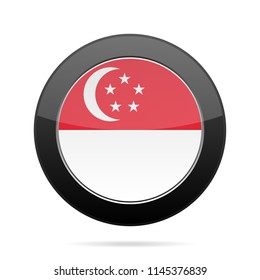 National flag of Singapore. Shiny black round button with shadow.