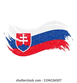 National Flag Of Slovakia, Designed Using Brush Strokes,Isolated On A White Background. Vector Illustration. Use For Brochures, Printed Materials, Logos, Independence Day.