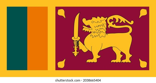 National flag of sri lanka( Ceylon).Democratic Socialist Republic of Sri Lanka