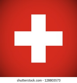 National flag of Switzerland with correct proportions and color scheme