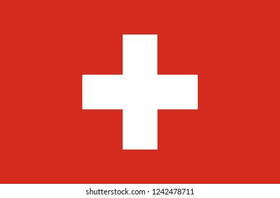 National Flag Switzerland. Switzerland flag, official colors. National Switzerland flag. Flat vector illustration. EPS10. Flag of Switzerland White cross marks the middle of the banner.