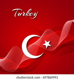 The national flag of Turkey. Abstract background. Vector.