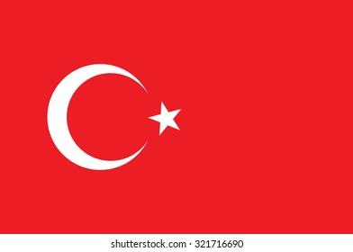 National flag of Turkey. Vector illustration of Turkish flag