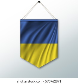 The national flag of Ukraine. The symbol of the state in the pennant hanging on the rope. Realistic vector illustration.