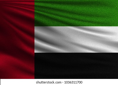 The national flag of United Arab Emirates. The symbol of the state on wavy cotton fabric. Realistic vector illustration.
