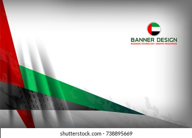 National Flag of United Arab Emirates in Banner Background for Independence Day and other events, Vector Illustration Design