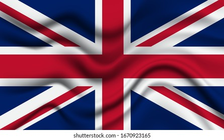 National flag of United Kingdom. Abstract national flag waving with curved fabric background. Realistic waving flag of United Kingdom vector background.