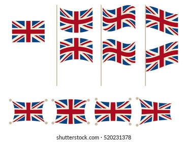 National Flag of United Kingdom in different shapes