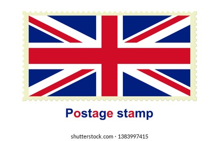 National flag of the United Kingdom of Great Britain and Northern Ireland on the postage stamp vector icon isolated on white background.