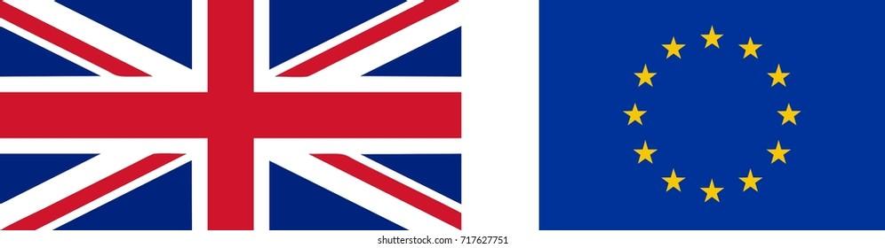 National flag of the United Kingdom (UK) aka Union Jack (2:1) and EU flag (3:2) - isolated vector illustration