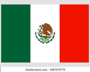 National flag of United Mexican States. original colors and proportion. Simply vector illustration, from countries flag set.