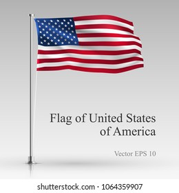 National flag of United States of America isolated on gray background. Realistic USA flag waving in the Wind. Wavy flag Stock Vector illustration