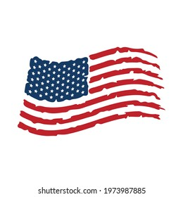 National flag of United States of America isolated on white background. USA flag distressed laser cut design. Independence Day vector illustration. 4th of July patriotic print.