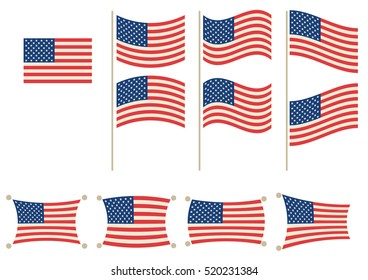 National Flag of United States of America in different shapes