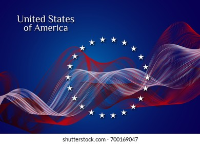 National flag of the United States of America. Stars and red and white stripes on a blue background. Background. Vector