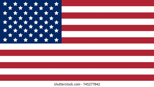 National flag of United States of America. Official colors and proportion of flag of USA.Vector illustration