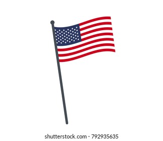 The national flag of United States on a pole. The waving flag. The sign and symbol of the country. Realistic vector on white.