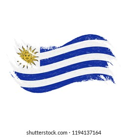 National Flag Of Uruguay, Designed Using Brush Strokes,Isolated On A White Background. Vector Illustration. Use For Brochures, Printed Materials, Logos, Independence Day.