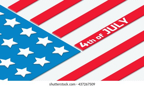 National flag of the USA. Fourth of July. American Independence Day background. Isometric vector illustration