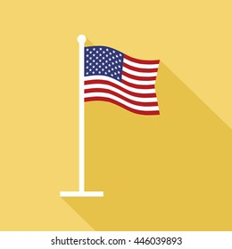 National flag of USA on flagpole flat icon. American star-spangled state banner. Vector illustration in eps8 format.
