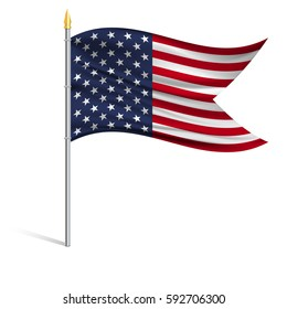 The national flag of USA on a pole. The wavy fabric. The sign and symbol of the country. Realistic vector.