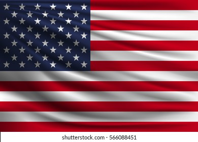 The national flag of USA. The symbol of the state on wavy silk fabric. Realistic vector illustration.