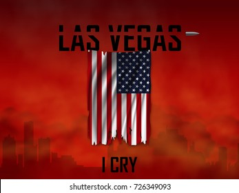 The national flag of the USA  torn in the wind against background of the red bloody sky and the silhouette of the city. Banner dedicated to the tragedy in the city Las Vegas. Vector illustration.
