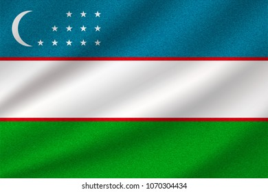 national flag of Uzbekistan on wavy cotton fabric. Realistic vector illustration.
