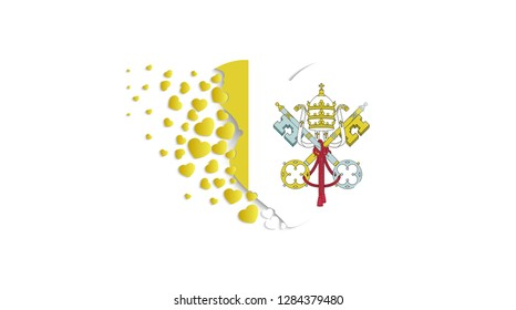 National flag of Vatican City in heart illustration. With love to Vatican City country. The national flag of Vatican City fly out small hearts